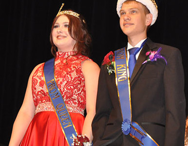 Prom king and queen Kobe Giger and Shari Schober
